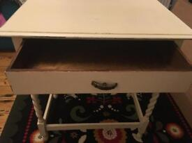 Cream side/hall table with drawer and barley twist legs