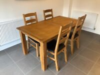 NEXT Solid Oak Extending Dining Table and 4 Chairs