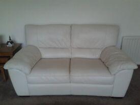 Cream Leather Suite 2+1+1