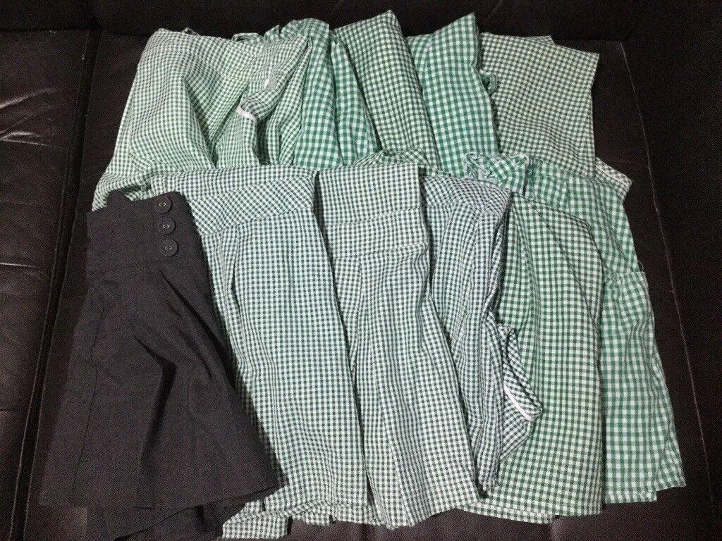 617e0b671 5-6 6-7 Girls school uniform summer dresses x10 green gingham bundle joblot