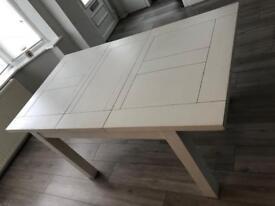 Solid oak white extending table