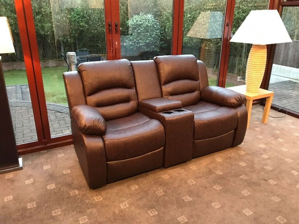 Wiltshire Brown Leather 2 Seater Cinema Recliner Sofa With Console