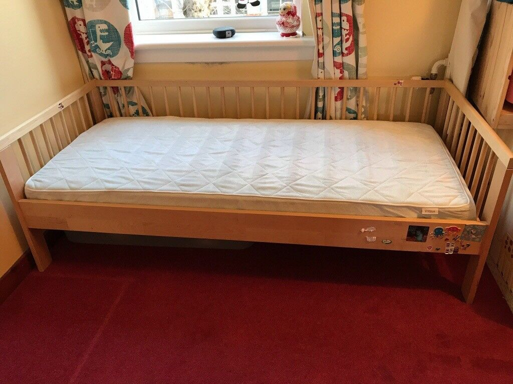 Ikea Toddler Bed With Mattress And Guard Rail Image 1 Of 2