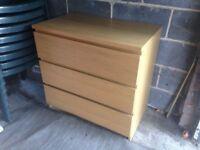 Chest of 3 Drawers Oak Veneer Bedroom Home or Office Storage Unit VGC