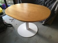 Oval Dining table Kitchen table with Oak top and white column base