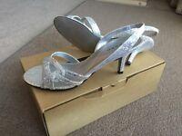 Ladies size 5 silver shoes