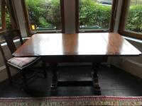 Refectory dining table with 4 dining chairs