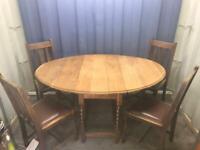 DROP LEAF TABLE & 4 CHAIR