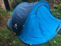 2 seconds 3 people camping tent