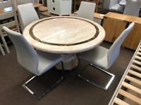 Ex-display**Round marble dining table and 4 chairs