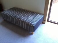 Footstool, can be used as 2 seater poufee, black/grey/white striped, excellent condition