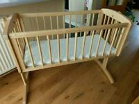 Mothercare Swing Crib and mattress - barely used