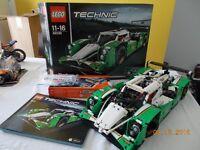 Lego Technic Race Car 42039 with custom LED Headlights and Power Kit - as new.