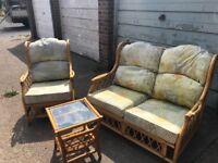 3 piece suite conservatory cane furniture