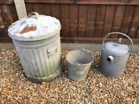 Galvanised bin bucket and watering can