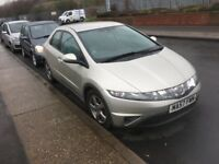 LOW MILEAGE 57 PLATE HONDA CIVIC 1.8 i-VTEC SE 5 DOORS.ONLY RUN 94k. LOW PRICE FOR URGENT SELL. MOT