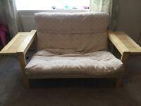 Cream sofa bed futon removable cover