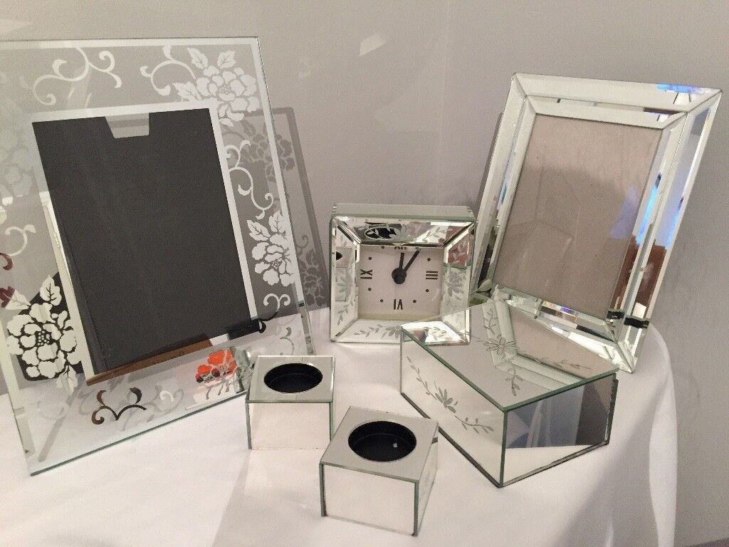 Luxury Mirrored Dressing Table Accessories 7 Piece Set