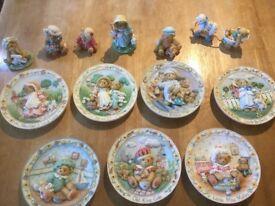 Enesco Cherished Teddies job lot plates/ornaments as new