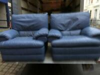 Pair of Blue Leather Armchairs
