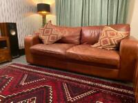 SOLD!! Beautiful Tan Leather Sofa