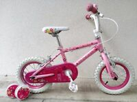 """(2605) 12"""" 8"""" PRINCESS Girls Kids Childs Bike Bicycle + STABILISERS; Age: 3-4 Height: 90-105 cm PINK"""