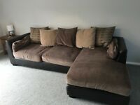 Brown fabric and leather corner sofa for sale