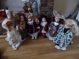6 X Porcelain Dolls Bundle
