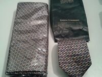 Genuine Italian silk tie and scarf set - Unused