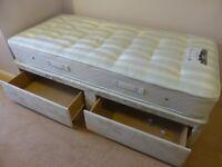 Single Divan Bed & Sleepeezee Ortho Ultimate Mattress with Two Drawers