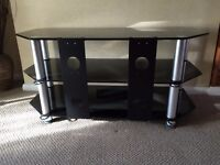 Black glass tv stand with two shelves, 105(w)x46(d)x51(h)