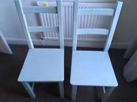 Dining Table and 6 duck egg blue chairs (wood)