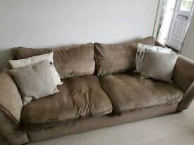 4 seater sofa, 2 armchairs and large foot stool