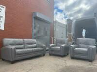 Grey leather sofa set 3/1/1 sofas delivery 🚚 sofa suite couch furniture