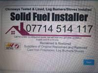 Hetas Registered Log burner Flue Liner Stove Installer Fireplace installer