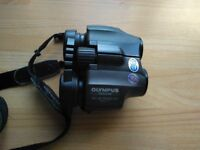 Binoculars, Olympus 10x25 Wide PC, field 7, uv protection with case and neck strap.