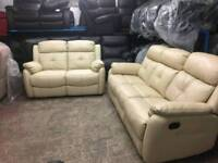 Cream leather ex display 2 and 3 seater recliners