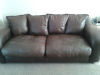 Brown Leather 3 Piece Suite - Sofa + 2 Chairs