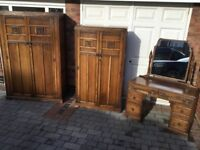 Solid oak dressing table and two matching wardrobes, original old charm