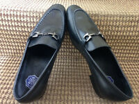 Opp Men's Leather Slip On Black Leather Shoes Size 8.1/2 Uk