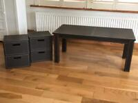 Leather brown coffee table with 2 free side draws