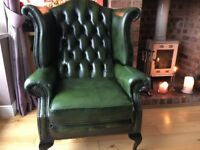 Much Sought After Vintage Green Leather Queen Ann Wingback Chesterfield Chair