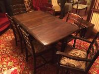 Vintage dining room table with six chairs, can be folded
