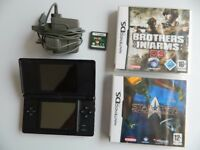 Nintendo DS Lite Handheld Console - Black + original charger, stylus and 3 games
