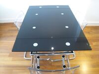As new- superb extendable black glass & chrome dining table-reduced to only £50 for very quick sale