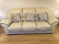 Real leather cream Italian 3 seater sofa, 2 seater sofa and 1 armchair