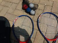 Tennis racquets x2 with 4 tennis balls