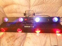 3 Equinox Quadzilla and 2 Quadrille led disco lights