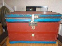 Vintage retro large steamer trunk.