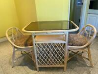Rattan glass top table and chairs